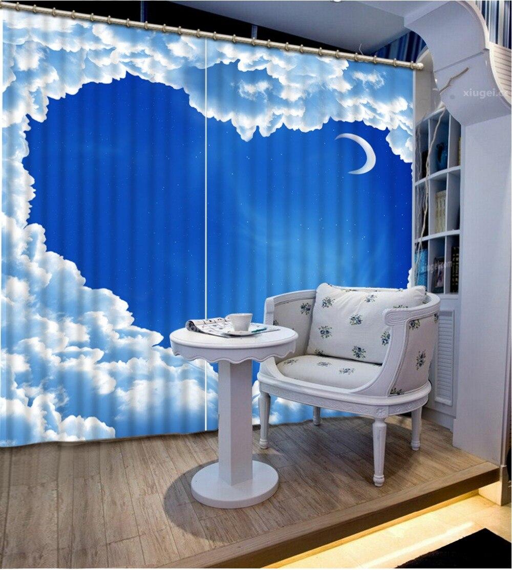 Пользовательские 3d занавески голубое небо и белые облака rideaux pour le salon cortina 3d занавески для спальни 3d стереоскопические