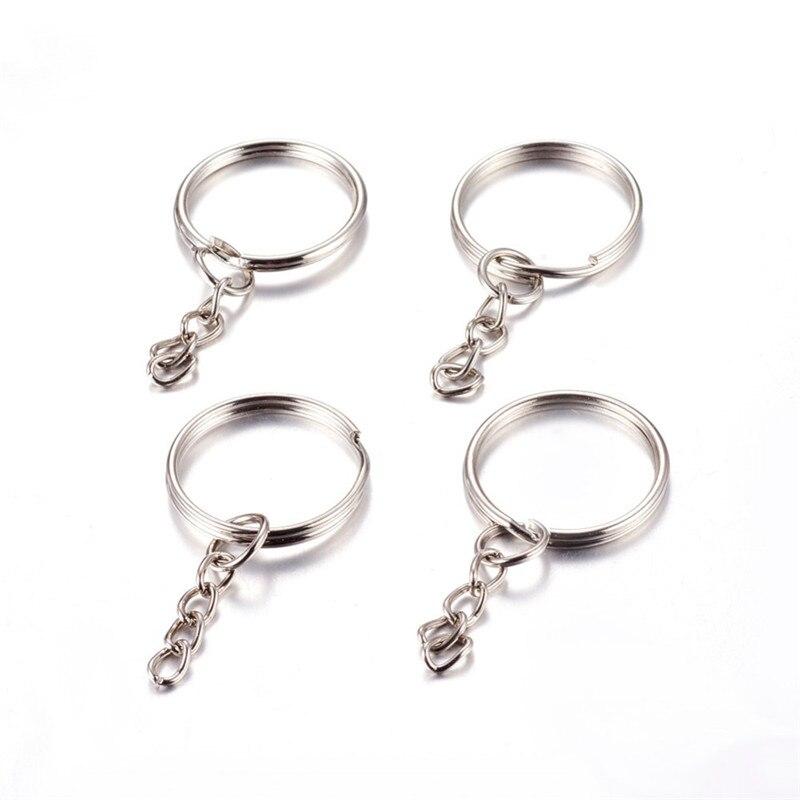 20 piezas 25x2mm llavero de Metal de hierro Cierre de cadena para fabricación de joyería DIY accesorios anillo suministros F60
