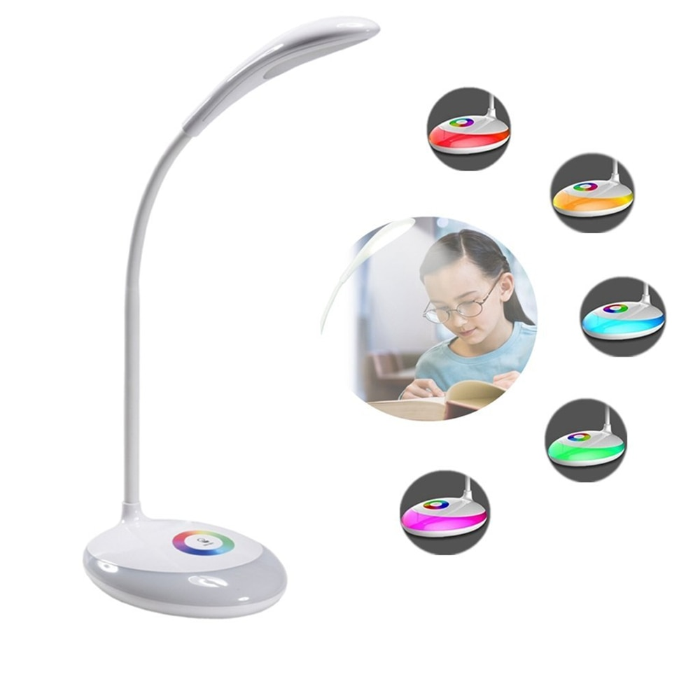 Iluminação conduzida olho-cuidado readinglamp/controle de toque 3 modos reguláveis usb recarregável multi-colorido mudando iluminação noturna base