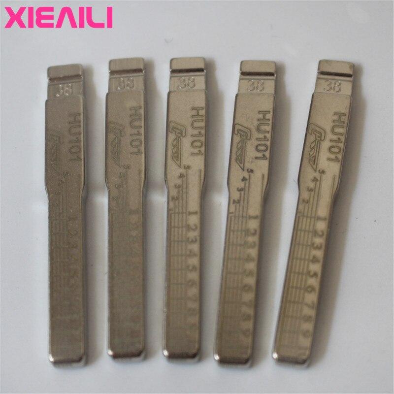 XIEAILI-lames gravées avec clé, NO.38 HU101, pour voiture Ford Focus/Mondeo S304, échelle de dents, non découpée, cisaille