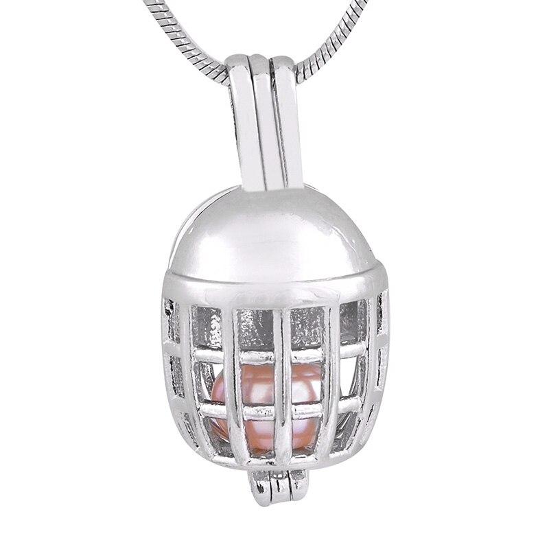 Gran oferta 18KGP colgantes de jaula Coll forma de casco de fútbol cuentas de gemas jaula medallones colgantes fantásticos P176