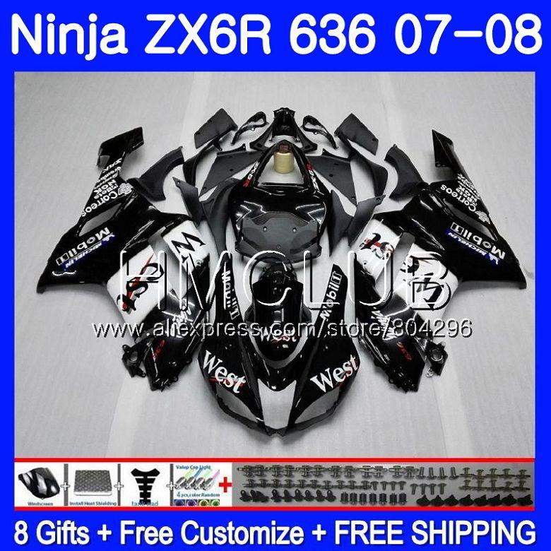 Cuerpo para KAWASAKI NINJA ZX 6R 6 R 600CC ZX-636 ZX636 07 08 16HM.20 ZX600 ZX6R 07 08 negro oeste ZX 636 ZX-6R 2007 2008 carenado