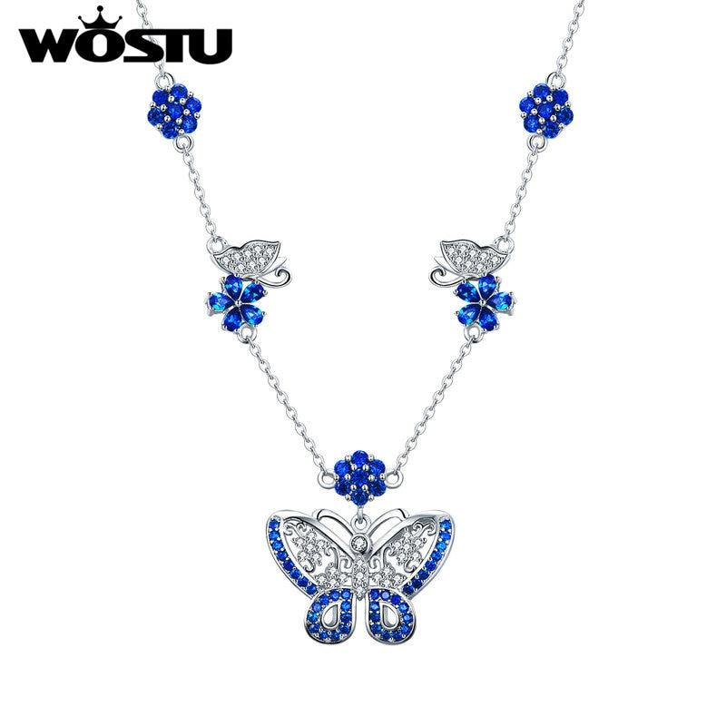 Wostu 2020 azul dança borboleta flor colar pingente zircão colar para festa de luxo nova jóias zbfn079