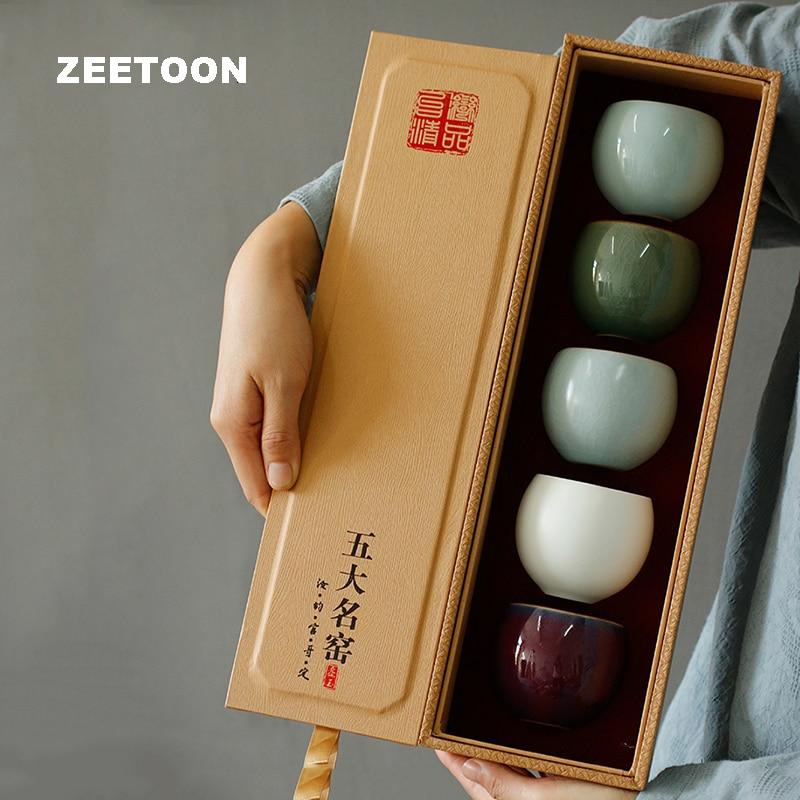 Caja de regalo 110ml taza de té de arte cerámica Kung Fu Teaware Maestro de oficina taza de té pequeños boles de Sake vasos de agua como regalos de navidad