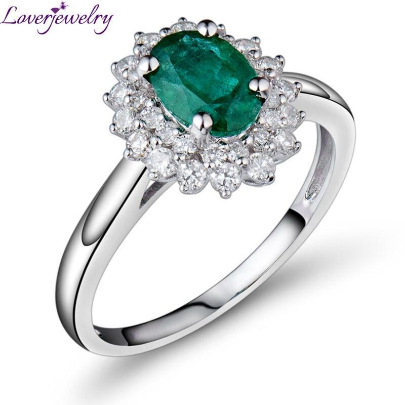 LOVERJEWELRY Esmeralda Pedra Anéis de Noivado de 1.4 Quilates Anel de Esmeralda Anel de Diamantes Reais Au585 /14K Ouro Branco Para As Mulheres jóias