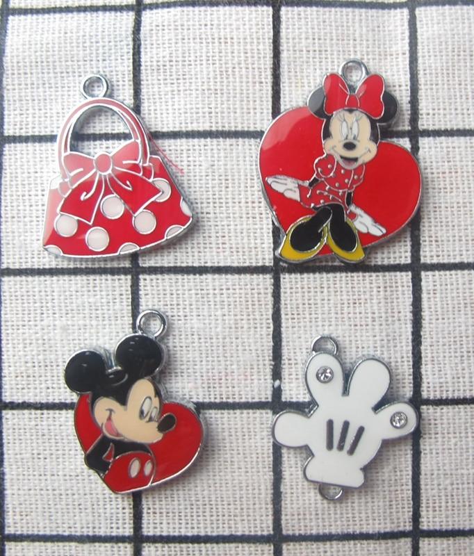 New Style  10 Pcs Minnie Bag Mickey Hand Cartoon Charm Necklace/Bracelet/Earrings  Pendants DIY Jewelry Making Accessories T-108