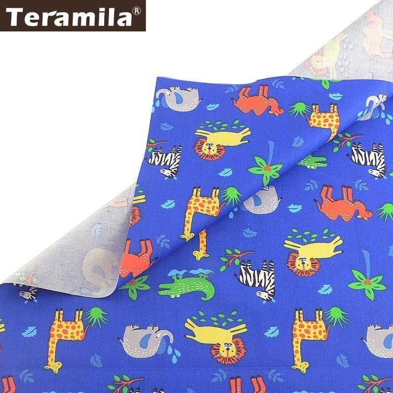 Teramila, impreso, diseño de Animal, 100%, tela de algodón azul, Telas Por Metron Ankara, pañuelo de tela, Sábana de cama DIY, costura de Patchwork para chico