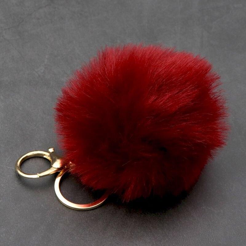 8cm bolso conejito Lindo bolso blanco mullido Artificial piel de conejo pompón BOLA DE pompón llavero para localizar las llaves de moda elegante