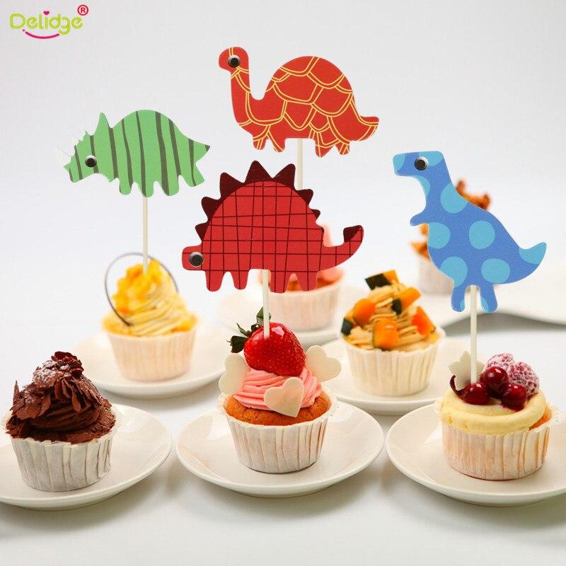 Delidge 24 unids/set dinosaurio Serise Cupcake superior de dibujos animados tarta, insertar tarjeta chico bebé cumpleaños fiesta decoraciones comida Toppers
