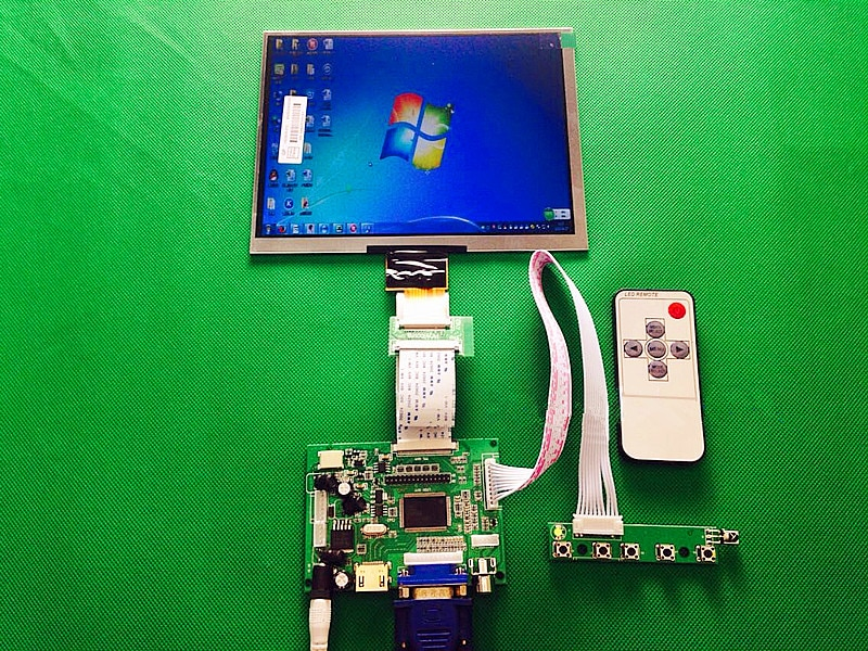 Vídeo de marcha atrás Universal HDMI VGA 2AV 50PIN TTL LVDS controlador tablero Moudle + 8 pulgadas 1024*768 HE080IA-01D pantalla LCD