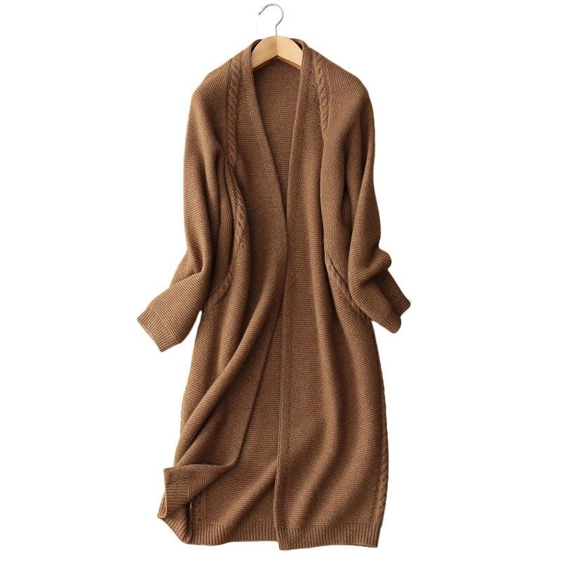 Yak vili punto grueso mujeres de moda boutique largo cardigan suéter abrigo caramelo 2 colores EU/S-XL