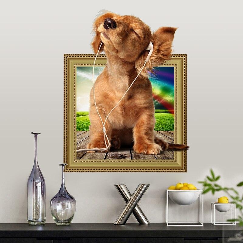 Горячие DIY 3D Щенок Собака стикер на стену ПВХ фон Декор для дома украшение комнаты наклейки на стены художественные обои наклейки на стену плакат
