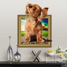 Autocollant mural 3D chiot chien   Étiquette décorative en PVC, pour décoration intérieure, autocollant de chambre, papier peint dart mural, sur affiche murale, tendance, bricolage
