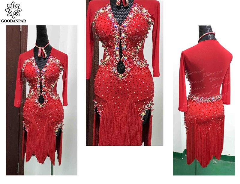 فستان الرقص اللاتيني للنساء ، فستان مسابقة الرقص اللاتيني ، فستان أحمر ، مسابقة الرقص اللاتيني