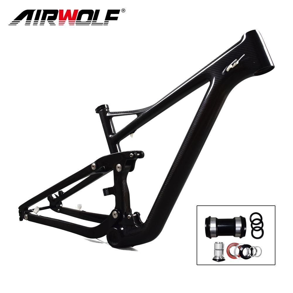 Airwolf 29er Full Suspension Carbon Mountain Bike Frame in Shock 190*51mm travel 122mm Max Tire size 2.4'' Enduro 29er MTB Frame
