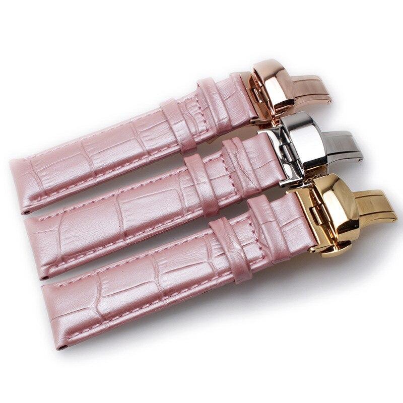 Correa de reloj de cuero auténtico, correa de reloj rosa, pulsera de mariposa, hebilla para reloj de mujer, 22mm, 20mm, 18mm, 16mm, 14mm, 12mm