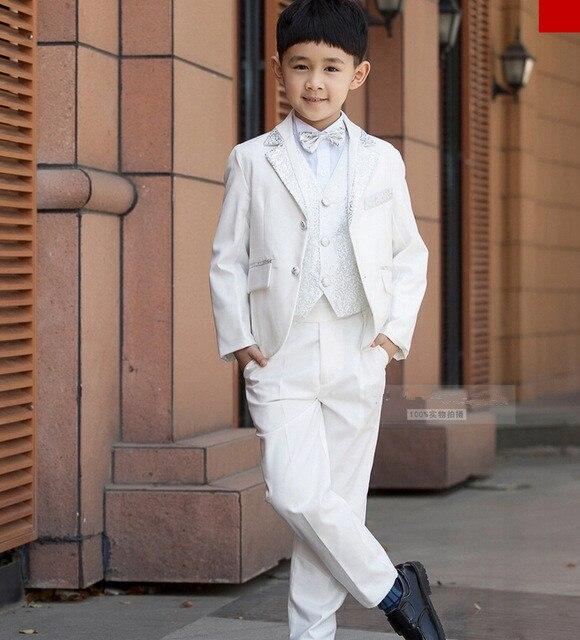 عالية الجودة الأطفال الزفاف السترة الملابس مجموعة زي عيد ميلاد عارضة الرسمي الصبي الدعاوى ل الزفاف 5 قطعة مجموعة F1005