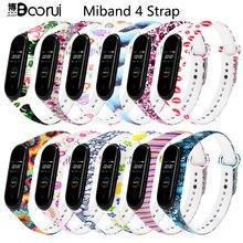 Ремешок BOORUI Mi band 4 для xiaomi mi band 4 аксессуары pulsera inteligente силиконовый пояс с цветами для замены m4 band