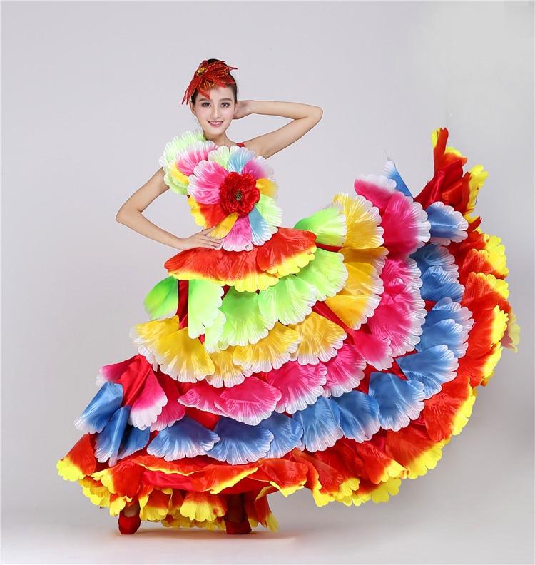 Spanish Flowers Dance Costume Flamenco Dance Dress Big Swing Performance Dress Female Opening Stage Flower Petal Skirt