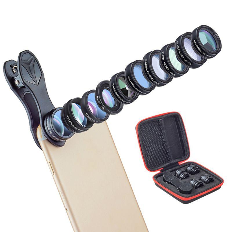 Profissional 10-em-1 celular slr espelho lente externa kit, olho de peixe/grande angular/macro-lente, fluxo/radial/filtro estrela, cpl