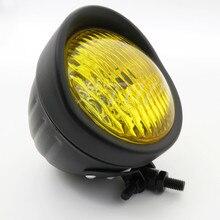 ZORBYZ Retro Black Metal Amber Lens Front Headlight For Honda Harley Cruiser Chopper Cafe Racer Old Scholl