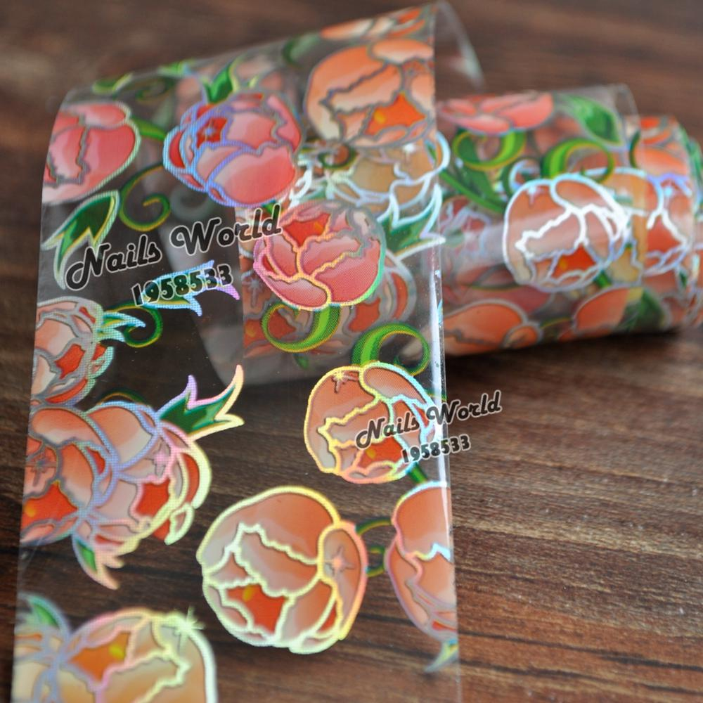 Flower Bud Beauty Transfer Foil Nail Art Stickers For Nails DIY Decorations Tools S431