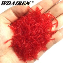 50pcs/Lot Lifelike Red Worm Soft Bait Smell Shrimp Odor Artificial Silicone Fishing Lure Bass 2cm Simulation Earthworm Takcle
