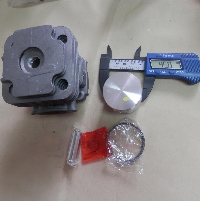 Juego de cilindros 45MM 753 compatible con EMAK EFCO OLEO-MAC 755 OS 453 550 530 550 530 Ergo ZYLINDER con montaje de CLIPS de pasador de anillo de pistón