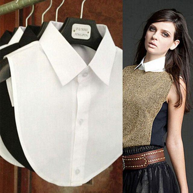 New Women Cotton Lace Fake Collar Blouse Vintage Detachable Shirt Collar False Collar Lapel Blouse Top Women Clothes Accessories