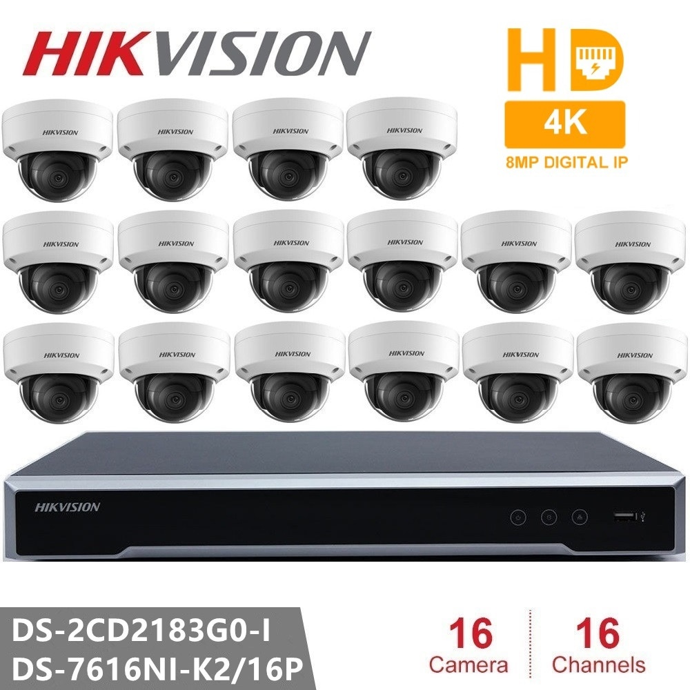 Hikvision 16CH CCTV مراقبة كيت 8MP الأمن كاميرا نظام 16CH POE NVR + 16 قطعة 8MP POE IP كاميرا H.265 CCTV للماء