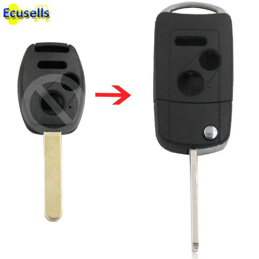 Coque de clé pliable 3 boutons   Pour HONDA Odyssey Civic Pilot Fit Acoord fit, Fob 2 + 1 panique