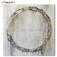 professional artist handmade white color simple circle oil painting on canvas modern abstract unframed painting for home decor
