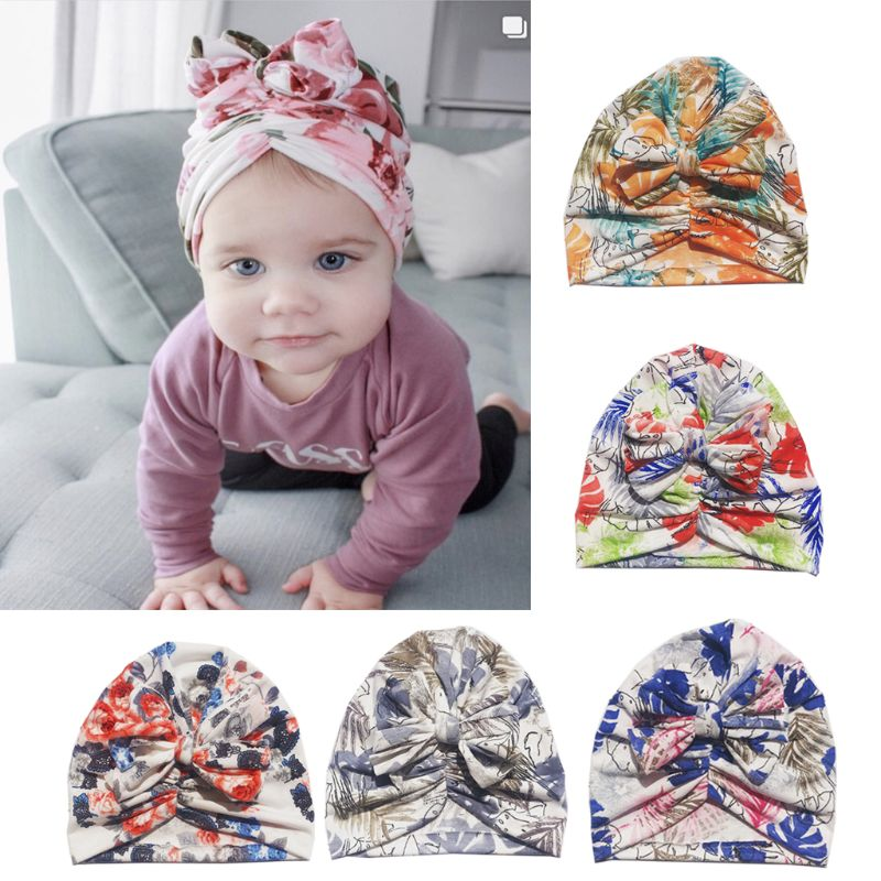 Bebé gorros sombreros recién nacido niñas turbante bebé sombreros de bebé de algodón grandes arcos diadema accesorios de fotografía