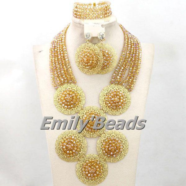 Champagne Gold African Crystal Beads Nigerian Wedding Handmade Balls Jewelry Set Indian Bridal Jewelry Set Free Shipping AMJ017