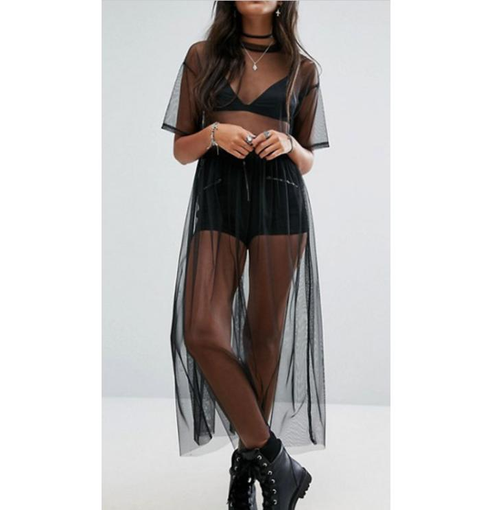 Camiseta sexi de mujer de gasa negra, Top de malla, camisas largas transparentes, camisetas sueltas casuales, Tops transparentes