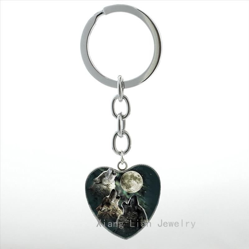 Vintage lune nuit hurlant loups porte-clés été Style pleine lune & loup Pture coeur porte-clés anneau animaux sauvages bijoux HP530