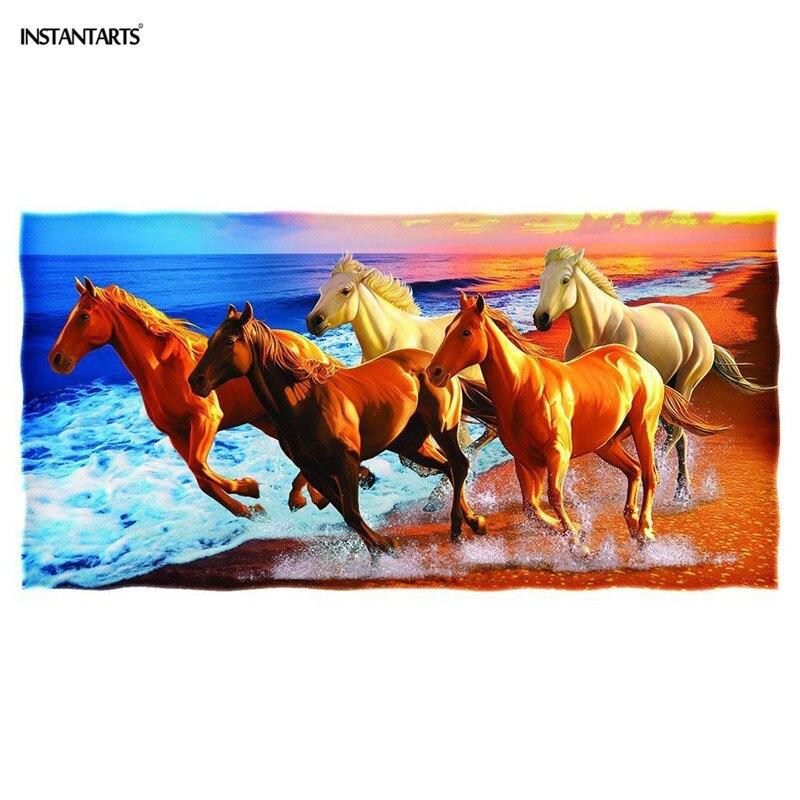 Toalla suave de baño de playa compacta instantánea 3D caballo impreso viaje portátil Fitness gimnasio Toalla grande absorbente para adultos