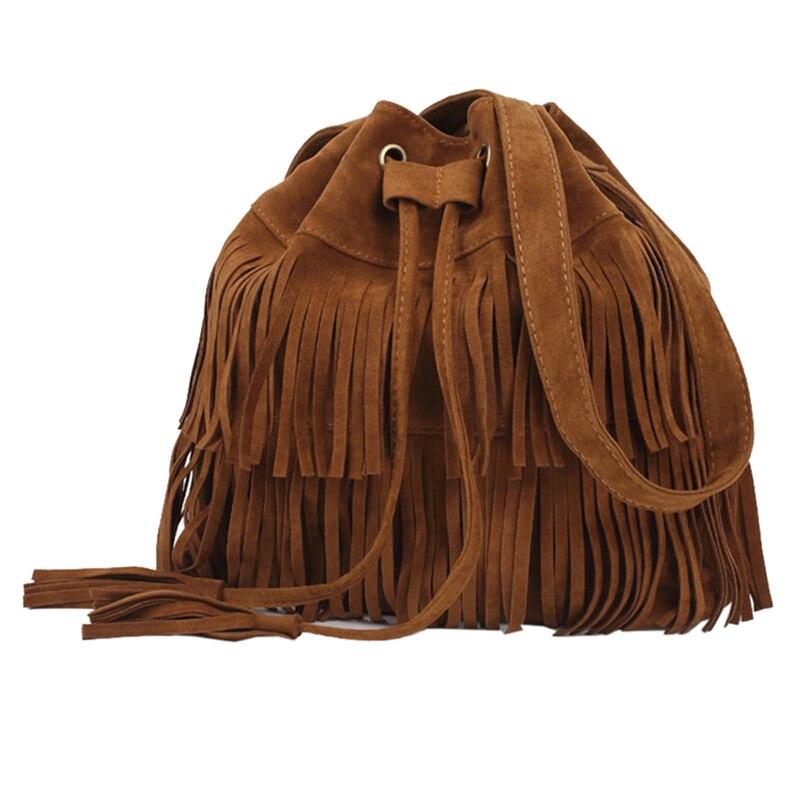 Frau Taschen Mode Eimer dekoriert Große Kapazität Casual Handtaschen Einfarbig Einfache Retro Quaste Taschen bolso mujer