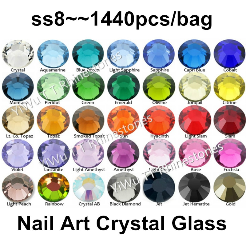 Wholesale 1440PCS SS8 (2.3-2.4mm) Multi Colors Flat Back Glue On Non Hotfix Rhinestones 3D nail art decoration glitter strass