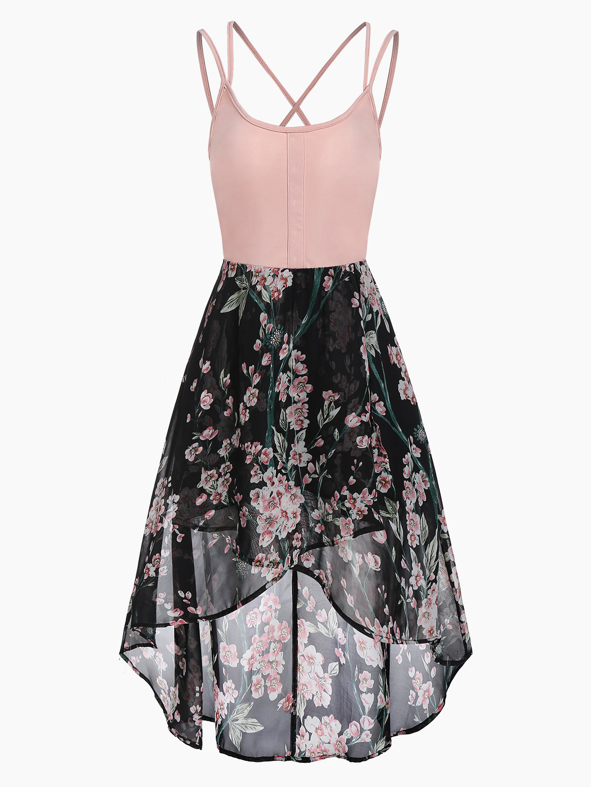 Wipalo Floral Print Cross Back Cami Dress Spaghetti Strap Asymmetric Dress High Waisted Mid-Calf Casual Chiffon Dress Vestidos