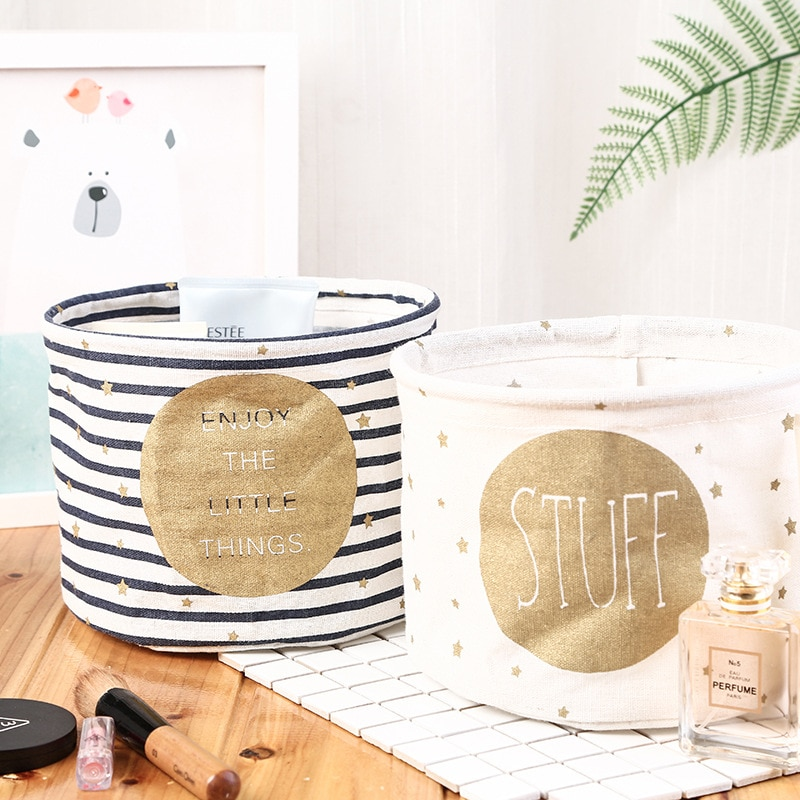 Хлопковая льняная настольная корзина для хранения, коробка для хранения, маленькая милая корзина для хранения стола, вместительные сумки для хранения, Органайзер