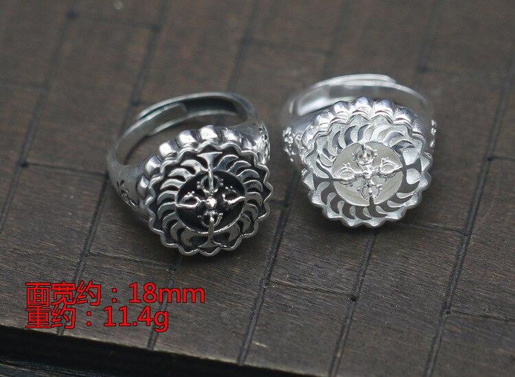 S925 cruz de plata pura vajra anillo de apertura elemento plata anillo de dedo de índice rotacional ancho ambos hombres y mujeres