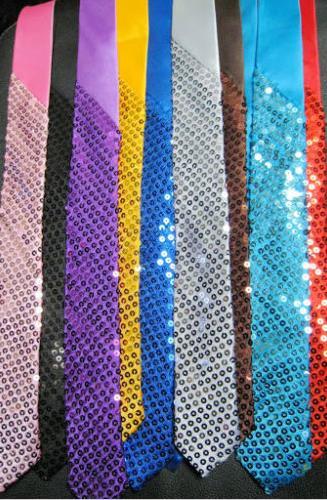 Unisex satén lentejuelas cuello corbata Navidad boda Halloween vestido de lujo magic show palin skinny corbata fiesta regalo 145X5 cm