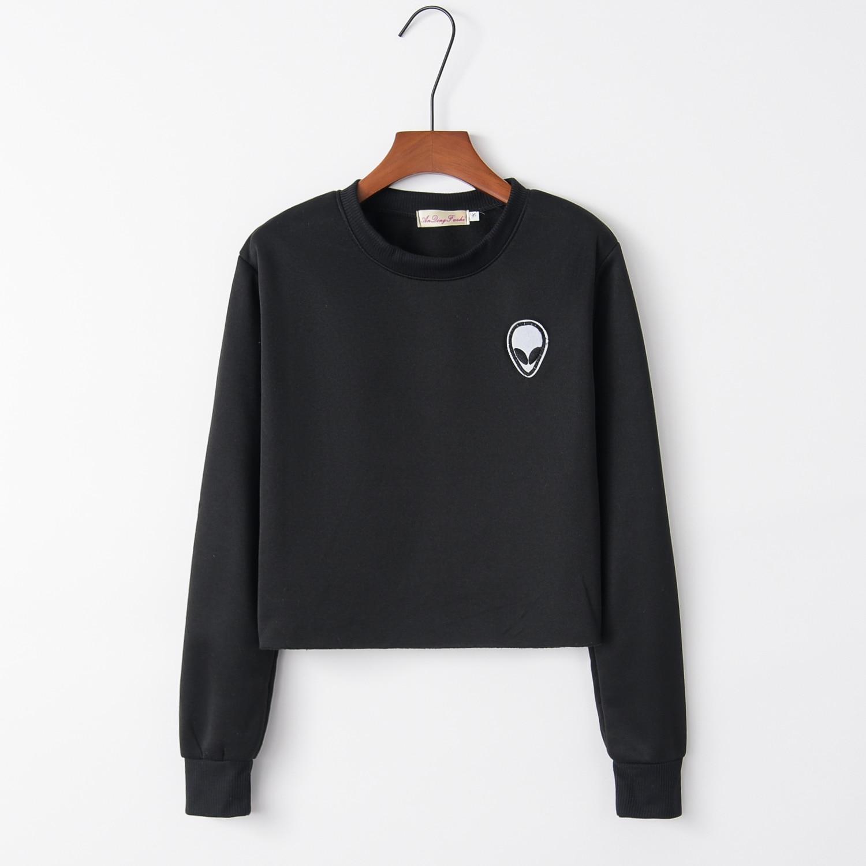 2017 frühling Herbst Alien Crop Tops Grau Hoodies Casual Langarm Sweatshirt Persönlichkeit Außerhalb Oansatz Hoody WAIBO BÄR