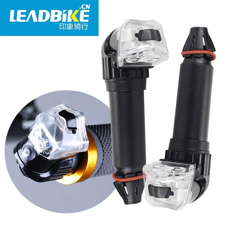 LEADBIKE-luces Led para manillar de bicicleta, con enchufe final para manillar de bicicleta, empuñaduras de luz LED, linterna de seguridad para ciclismo, a prueba de agua
