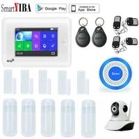 SmartYIBA     systeme dalarme de securite domestique intelligent  sans fil  wi-fi  controle a distance  avec application vocale Amazon Alexa  plein ecran tactile