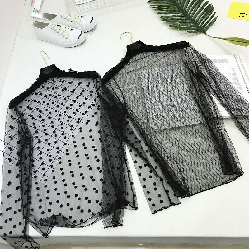 Señoras Sexy de manga larga ver a través de malla de encaje camiseta de verano transparente de camiseta mujeres Femme coreano de la ropa 2018