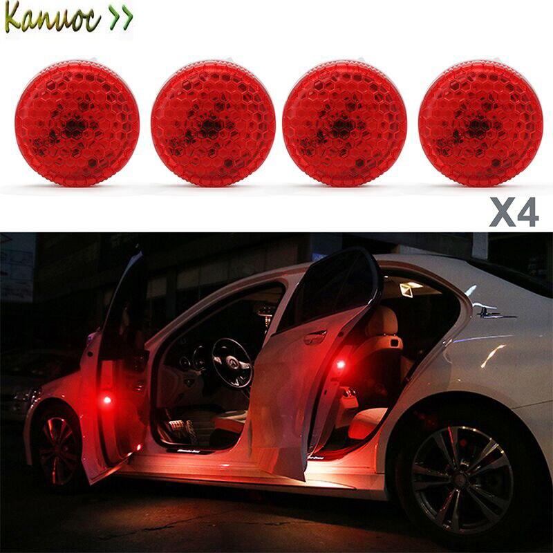 4 Uds luz de advertencia de puerta de coche luz LED intermitente inalámbrica Reflector de seguridad bombilla estroboscópica anticolisión estilo de coche para todos los coches