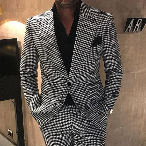 2019 Suit Men Costume Homme Mariage 2 Pieces Suits Houndstooth Jacket With Pants Designers Terno Masculino Slim Fit Tuxedos