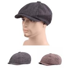 2019 NEW Black Grey Herringbone Newsboy Baker Boy Tweed Flat Cap Mens Gatsby Hat 2.22